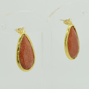 Aylas gold plated semi precious gem stone earrings teardrop Gold stone - Ottoman Handmade Jewellery Hand Made Gold Plated