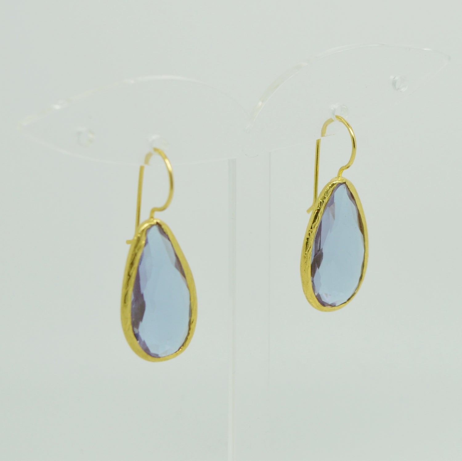 Aylas gold plated semi precious gem stone earrings teardrop purple Quartz crystal - Ottoman Handmade Jewellery Hand Made Gold Plated