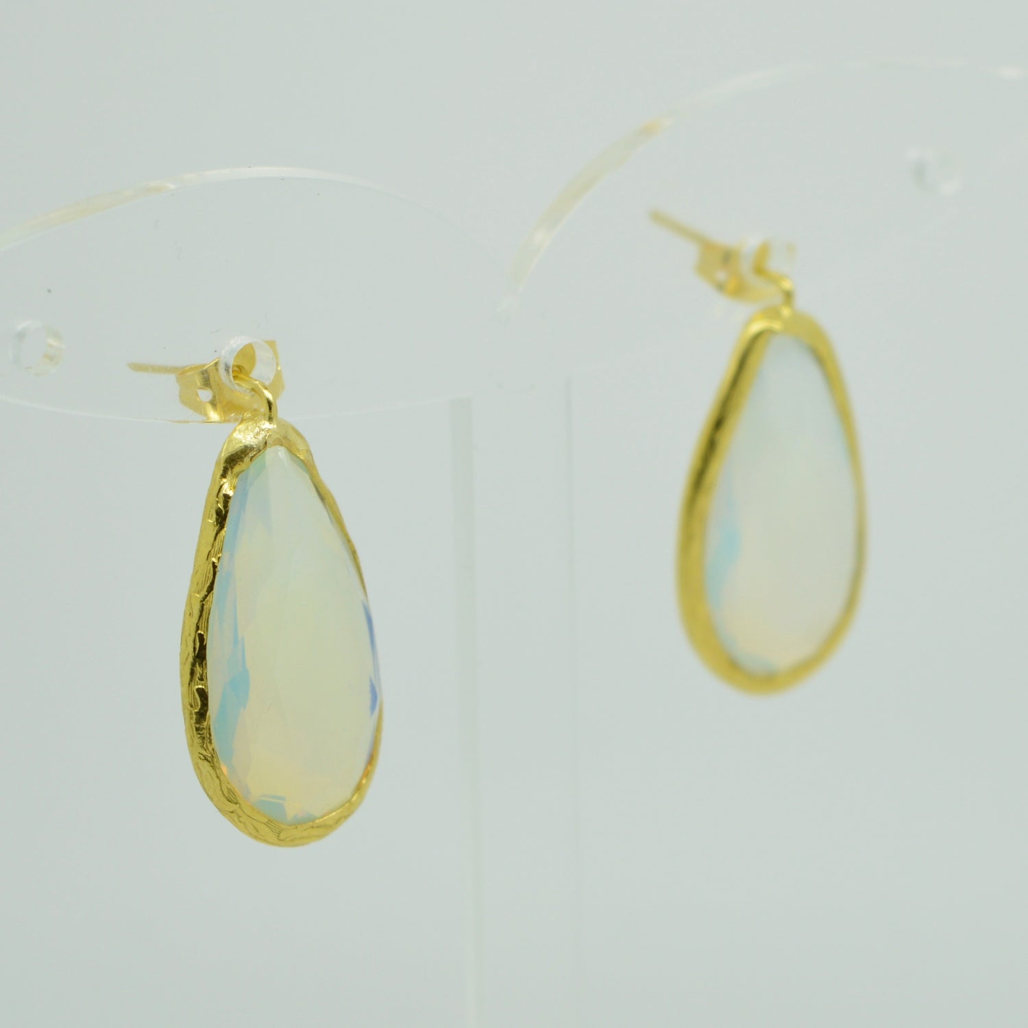 Aylas gold plated semi precious gem stone earrings teardrop white Moonstone - Ottoman Handmade Jewellery Hand Made Gold Plated