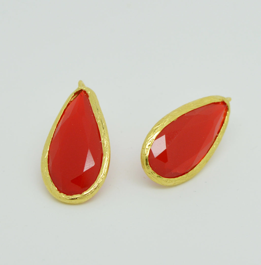 Aylas gold plated semi precious gem stone earrings teardrop red Carnelian - Ottoman Handmade Jewellery Hand Made Gold Plated