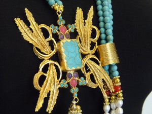 Aylas gold plated semi precious gem stone Turquoise Agate Pearl Necklace - Ottoman Handmade Jewellery Hand Made Gold Plated