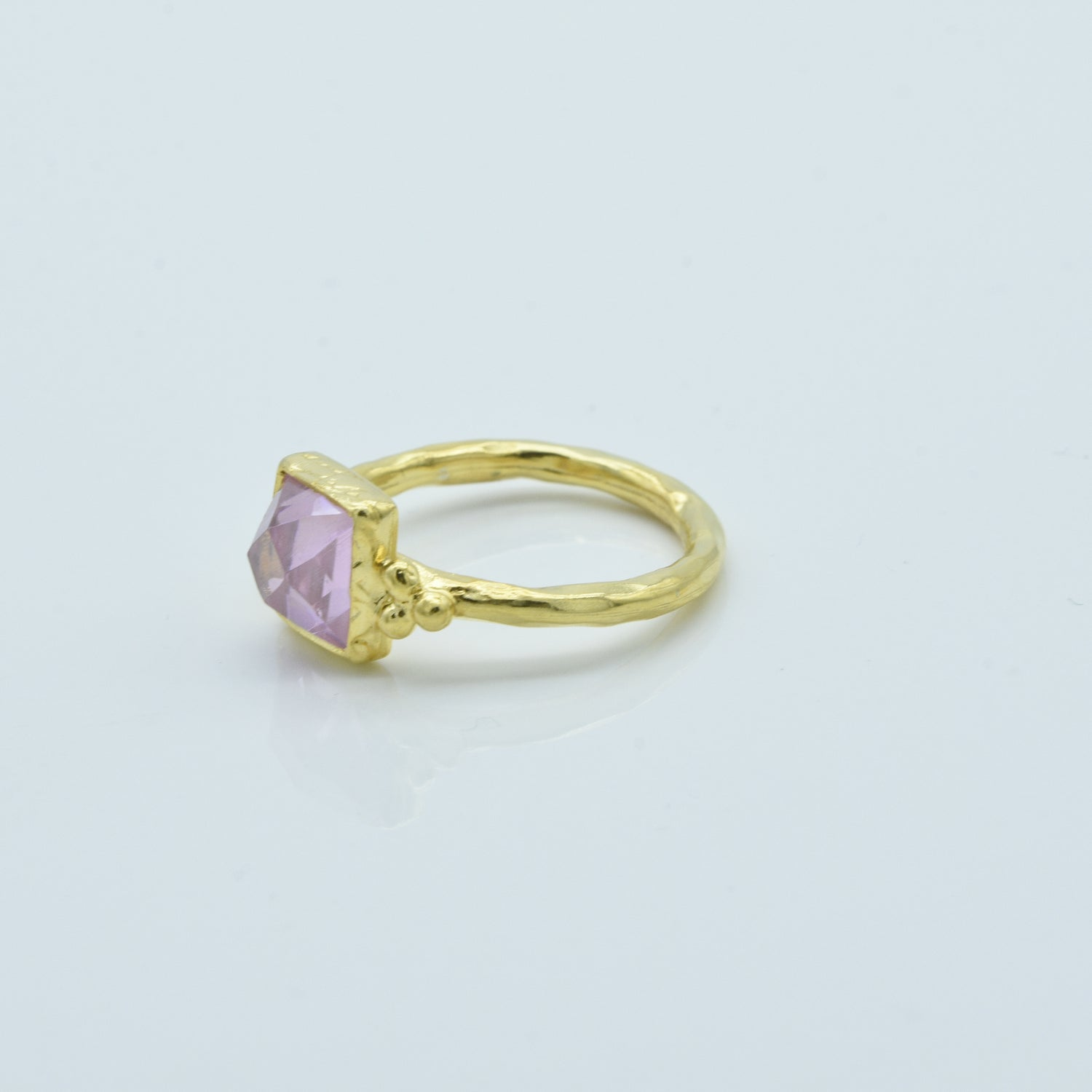 Aylas Crystal Quartz ring - 21ct Gold plated 925 silver - Handmade in Ottoman Style by Artisan