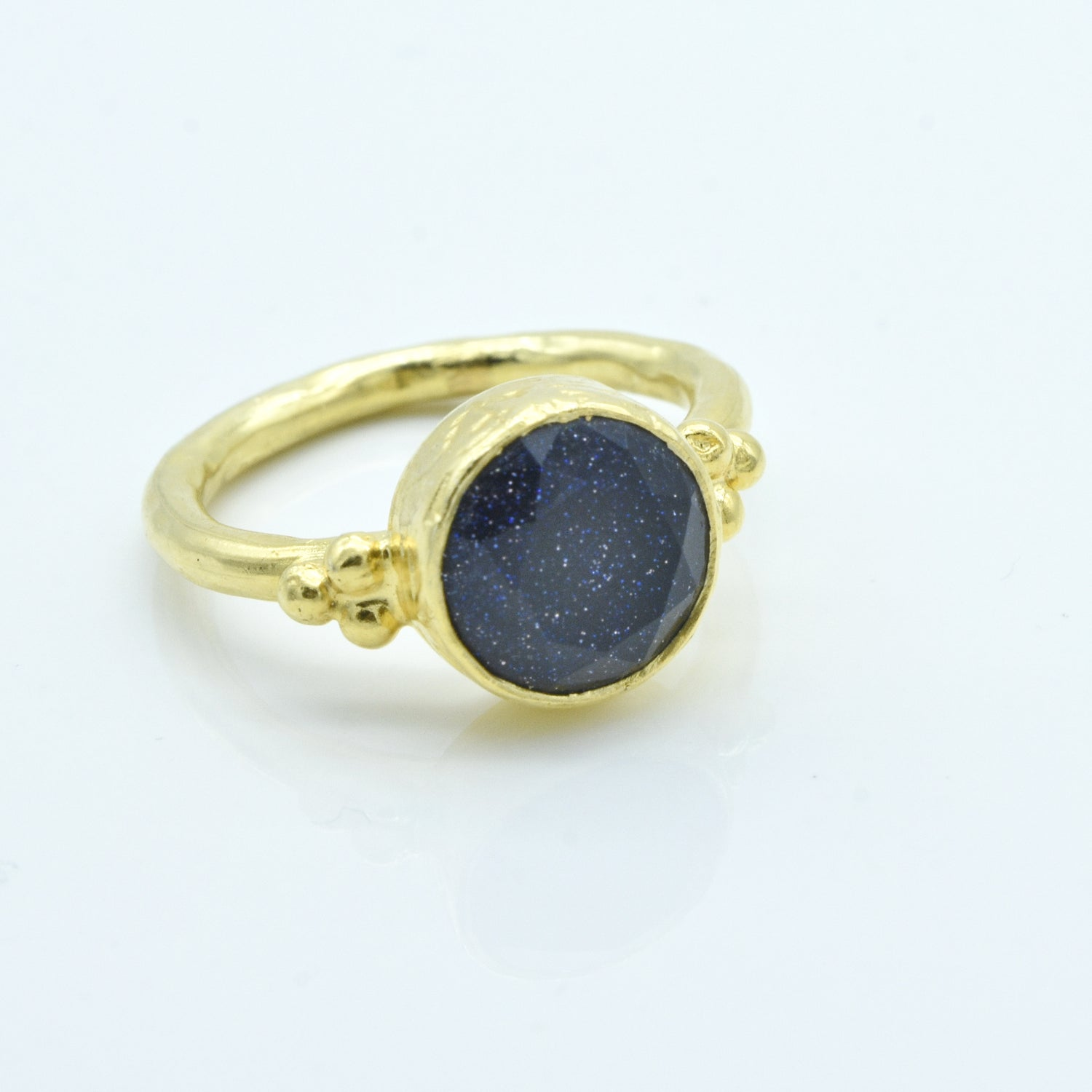 Aylas Goldstone ring - 21ct Gold plated 925 silver - Handmade in Ottoman Style by Artisan