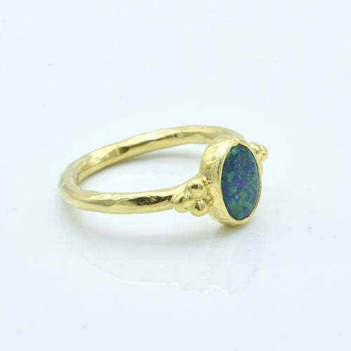 Aylas Opal ring - 21ct Gold plated 925 silver - Handmade in Ottoman Style by Artisan