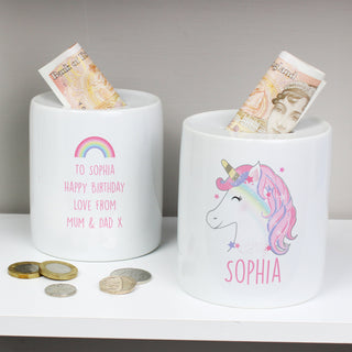 Personalised Unicorn Ceramic Money Box