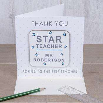 Personalised Star Teacher Coaster Card Free Delivery from Pukkagifts.uk