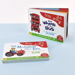 Personalised Wheels on Bus & Old Macdonald Sound Book Set from Pukkagifts.uk