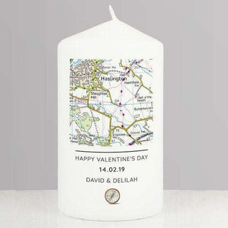 Personalised Present Day Map Compass Pillar Candle from Pukkagifts.uk