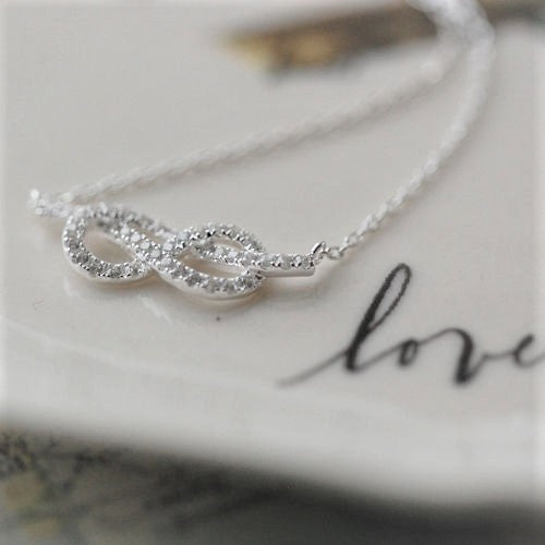 Infinity Cubic Zirconia Necklace With Personalised Gift Box