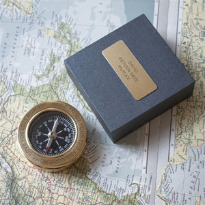 Personalised Brass Compass in Personalised Box from Pukkagifts.uk