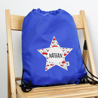Personalised Star With Car Pattern Blue Kit Drawstring Bag