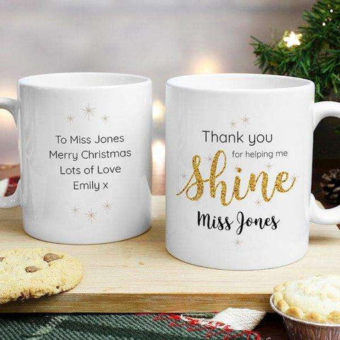 Personalised Thank You For Helping Me Shine Teacher Mug from Pukkagifts.uk