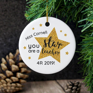 Personalised You Are A Star Teacher Decoration
