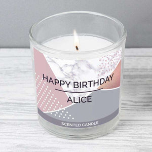 Personalised Geometric Scented Jar Candle from Pukkagifts.uk