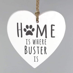 Personalised Home is Where Pet Wooden Heart Decoration | Birthday | New Home Gift