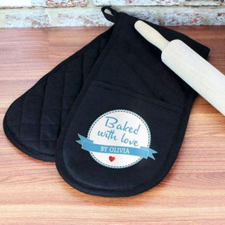Personalised Baked With Love Oven Glove from Pukkagifts.uk