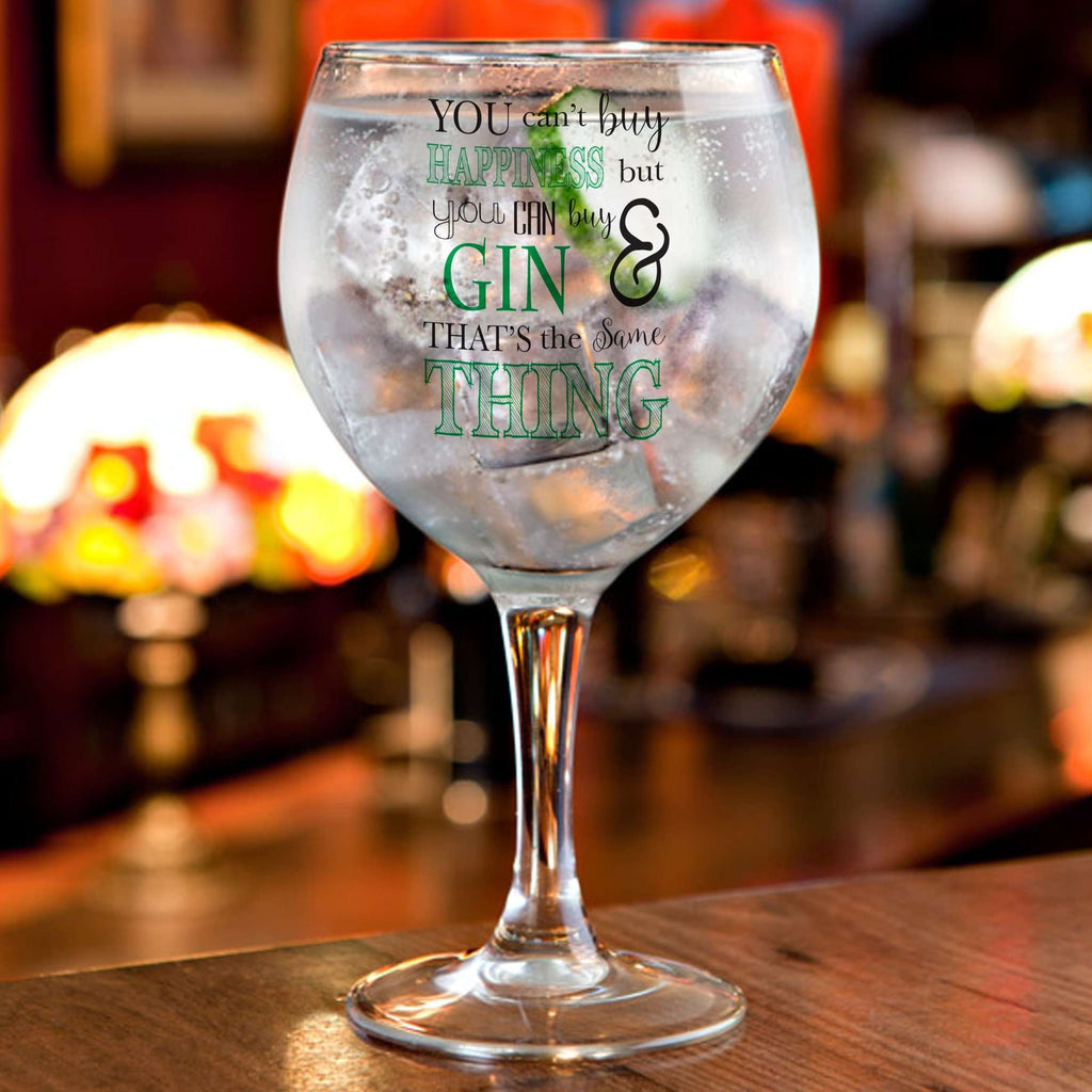 Personalised Can't Buy Happiness...Gin Balloon Glass from Pukkagifts.uk