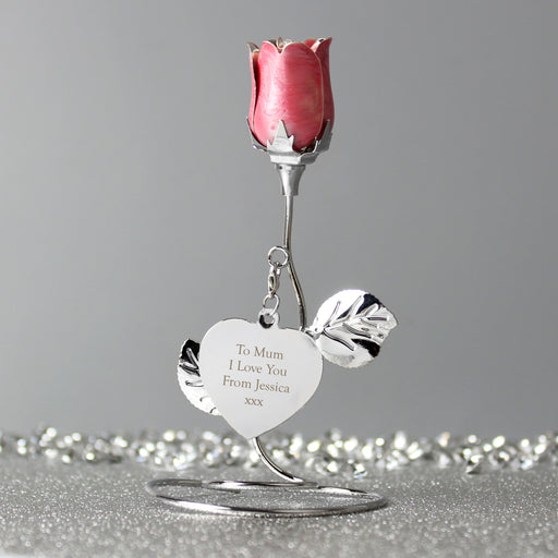 Personalised Free Text Pink Rose Bud Ornament With Silk Lined Gift Box