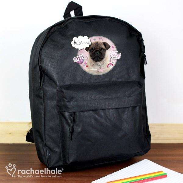 Personalised Rachael Hale Doodle Pug Black Backpack from Pukkagifts.uk