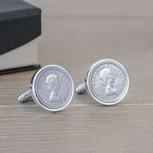Personalised Silverplated Sixpence Cufflinks,Pukka Gifts