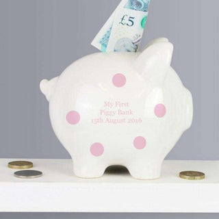 Personalised Pink Polka Dot Piggy Bank from Pukkagifts.uk