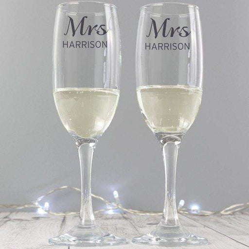 Personalised Classic Pair of Flute Glasses with Gift Box from Pukkagifts.uk