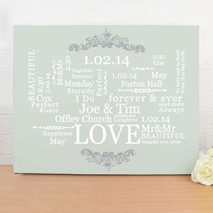 Personalised Wedding Typographic Art Canvas from Pukkagifts.uk
