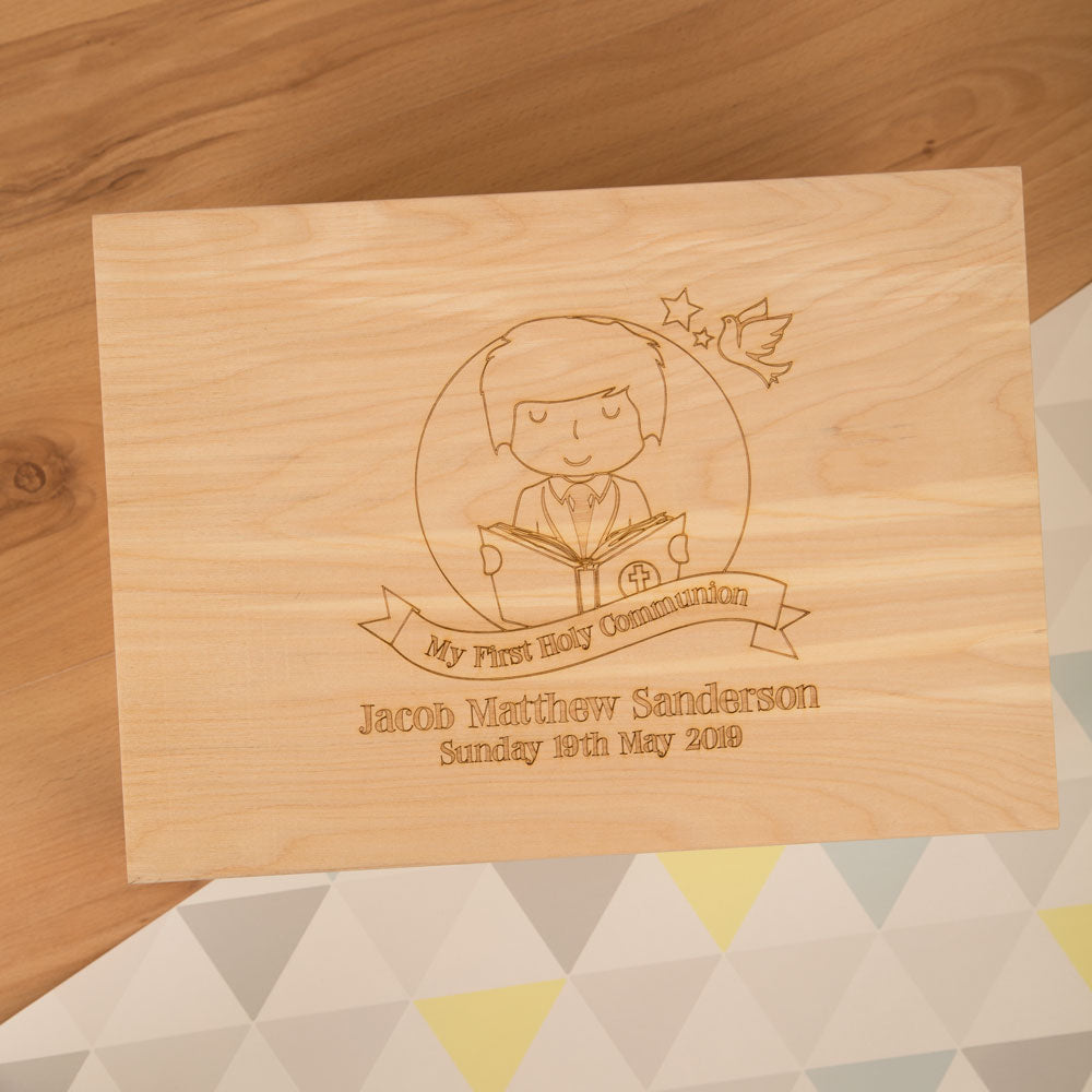 Personalised Laser Engraved 1st Holy Communion Keepsake Box for a Boy from Pukkagifts.uk