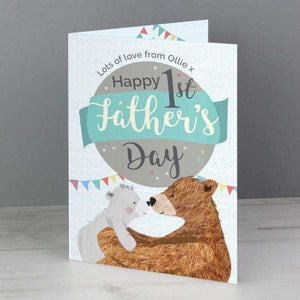 Personalised 1st Father's Day Daddy Bear Card from Pukkagifts.uk