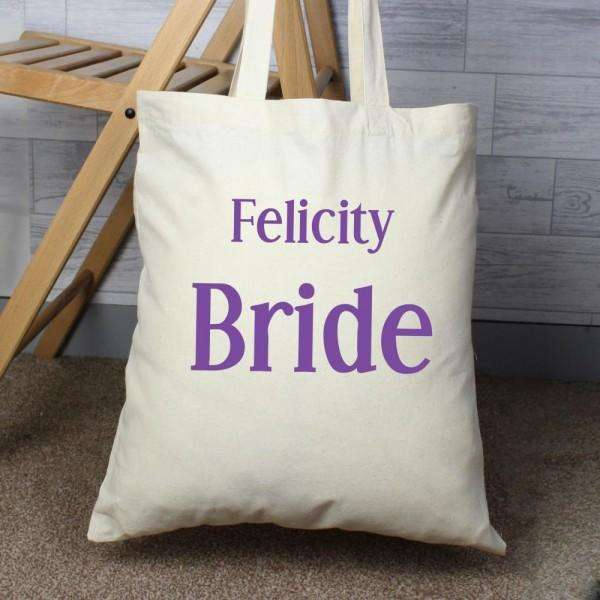Personalised Bride Cotton Bag from Pukkagifts.uk