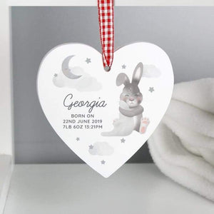 Personalised Baby Bunny Wooden Heart Decoration from Pukkagifts.uk