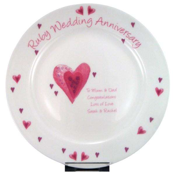 Personalised Ruby Wedding Anniversary Plate from Pukkagifts.uk