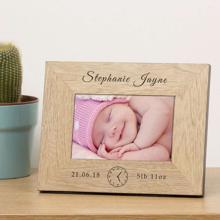 Personalised New Baby Wooden Photo Frame 6x4 from Pukkagifts.uk