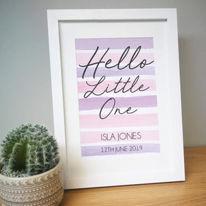 Personalised Hello Little One A4 Framed Print - Two Colours Available
