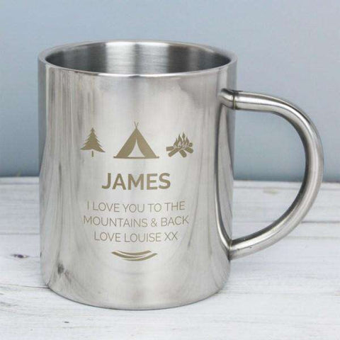 Personalised Camping Outdoor Metal Mug from Pukkagifts.uk