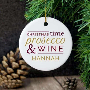 Personalised Christmas Time Prosecco & Wine Decoration,Pukka Gifts