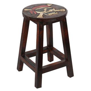 Wooden Pirate Skull Stool