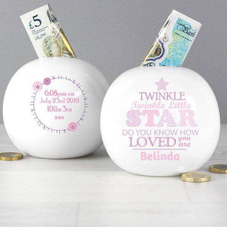 Personalised Twinkle Little Star Girls Money Box from Pukkagifts.uk