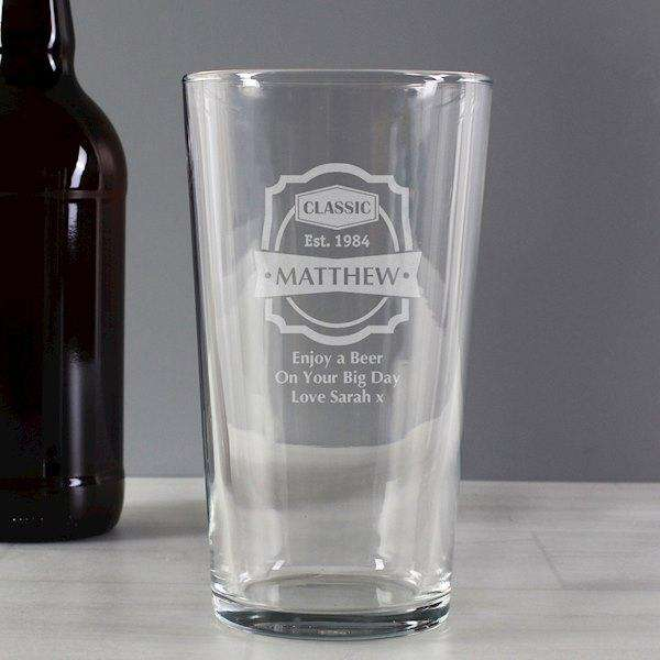 Personalised Classic Pint Glass from Pukkagifts.uk