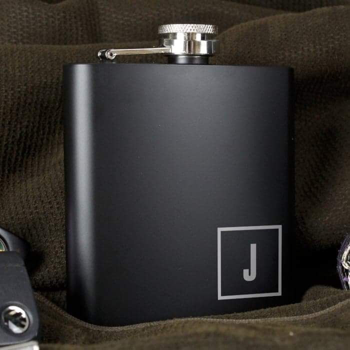Personalised Initials Monogrammed Black Hip Flask - www.pukkagifts.uk