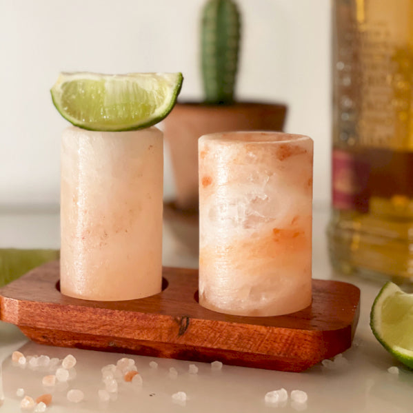 Set of 2 Himalayan Salt Shot Glasses & Wood Serving Stand