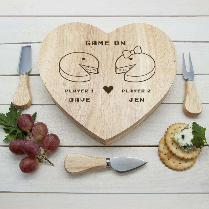Personalised Retro 'Game On' Couples' PAC Man Heart Cheese Board from Pukkagifts.uk