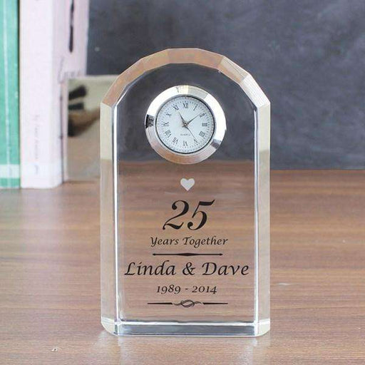 Personalised Silver 25th Anniversary Crystal Clock from Pukkagifts.uk
