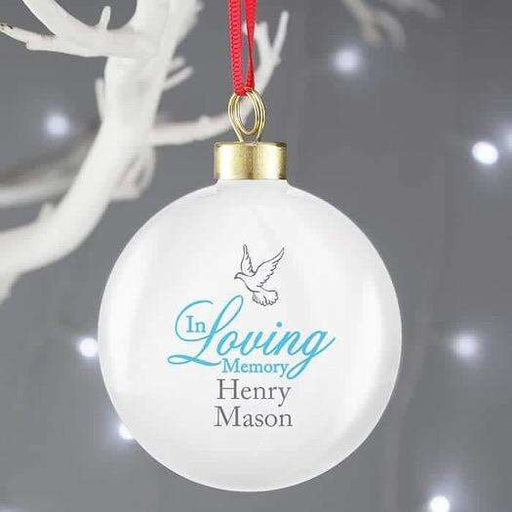 Personalised In Loving Memory Blue Bauble from Pukkagifts.uk