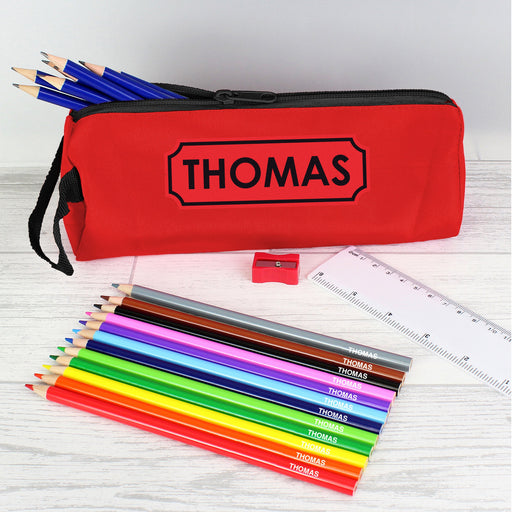 Personalised Red Pencil Case with Pencils & Crayons