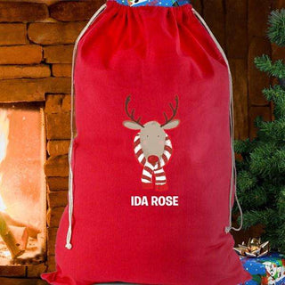 Personalised Retro Reindeer Cotton Christmas Sack from Pukkagifts.uk