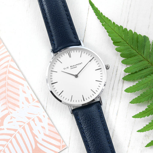 Elie Beaumont Ladies Personalised Leather Watch In Navy & Silver