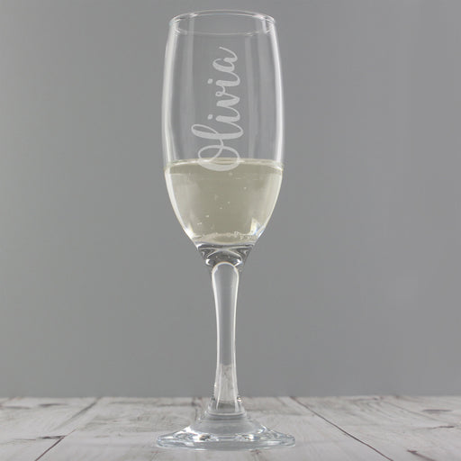 Personalised Name Only Engraved Flute Glass - With Free Folding Gift Box