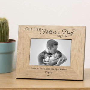 Personalised Our First Fathers Day Wood Photo Frame 6x4,Pukka Gifts