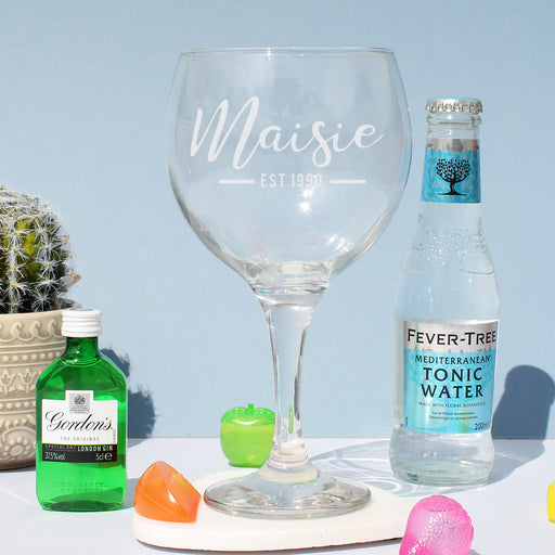 Personalised Est Gin Balloon Glass Set